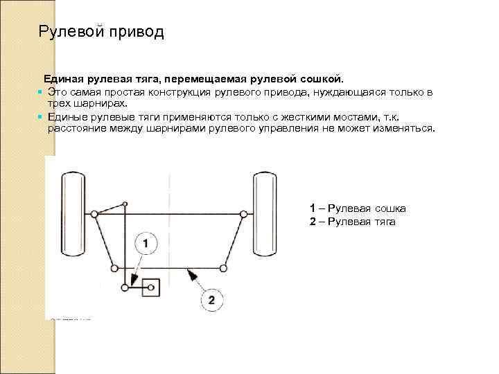Рулевой привод Единая рулевая тяга, перемещаемая рулевой сошкой. § Это самая простая конструкция рулевого