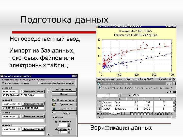 Подготовка данных Непосредственный ввод Импорт из баз данных, текстовых файлов или электронных таблиц. Верификация