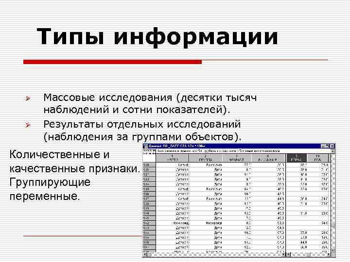 Типы информации Ø Ø Массовые исследования (десятки тысяч наблюдений и сотни показателей). Результаты отдельных