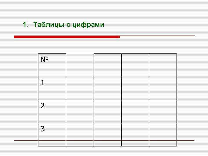 1. Таблицы с цифрами № 1 2 3