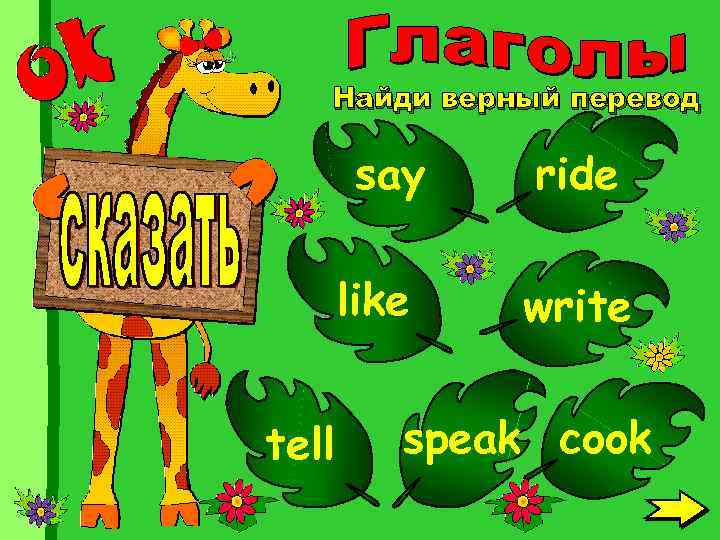 Найди верный перевод say like tell ride write speak cook