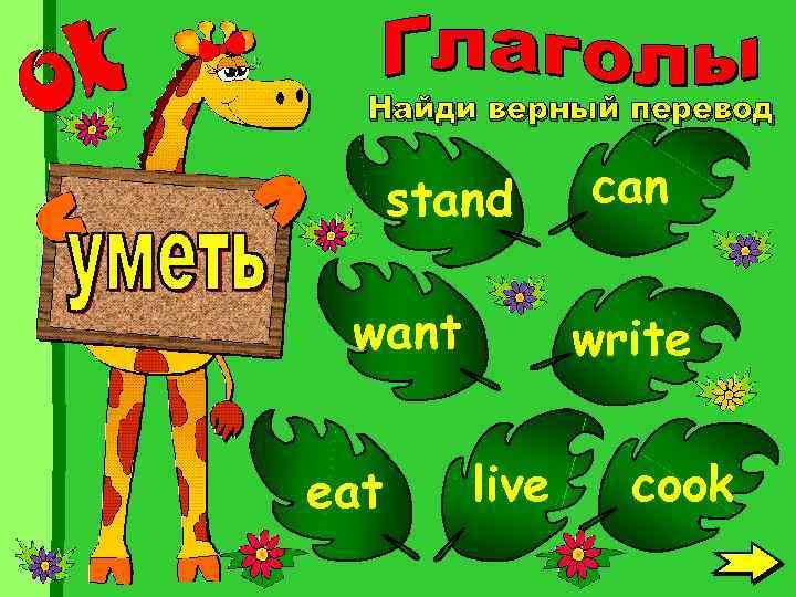 Найди верный перевод stand want eat can write live cook