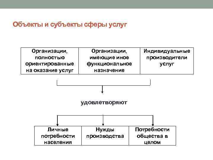 Объекты и субъекты сферы услуг Организации, полностью ориентированные на оказание услуг Организации, имеющие иное