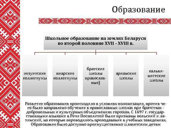 Образование Школьное образование на землях Беларуси во второй половине XVII - XVIII в. иезуитские