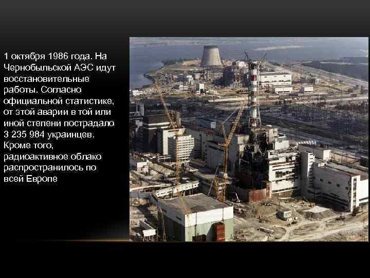 1 октября 1986 года. На Чернобыльской АЭС идут восстановительные работы. Согласно официальной статистике, от