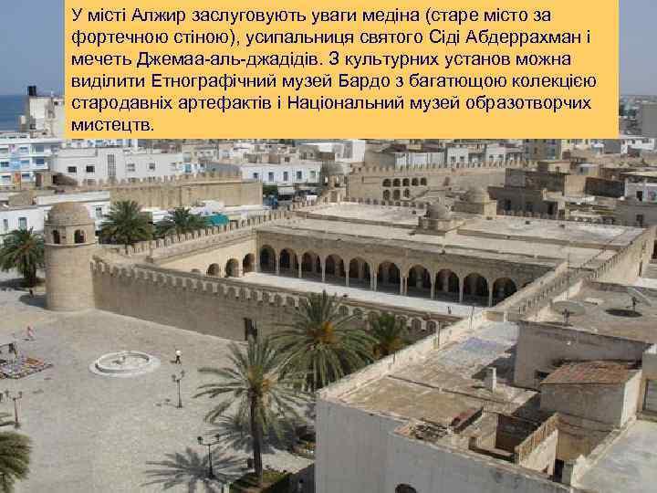 У місті Алжир заслуговують уваги медіна (старе місто за фортечною стіною), усипальниця святого Сіді