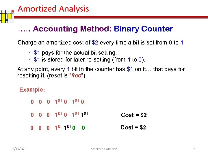 Amortized Analysis …. . Accounting Method: Binary Counter Charge an amortized cost of $2