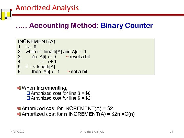 Amortized Analysis …. . Accounting Method: Binary Counter INCREMENT(A) 1. i 0 2. while