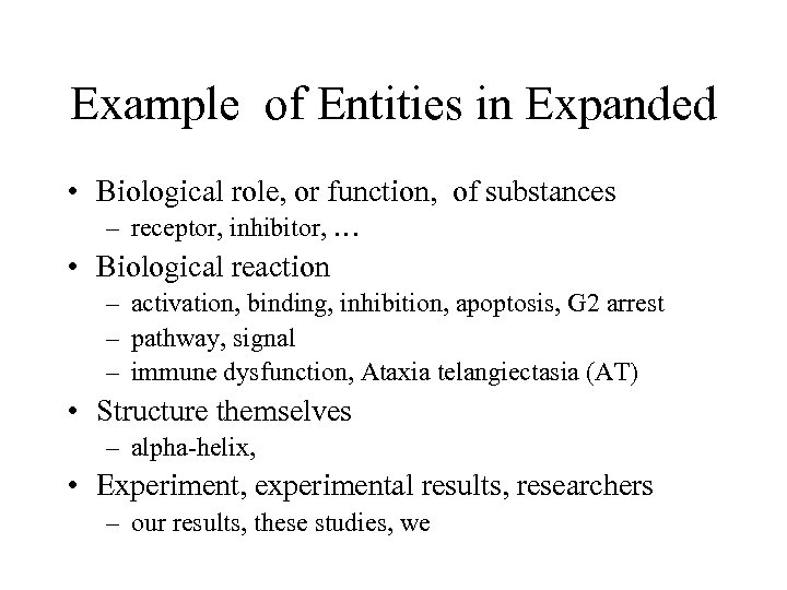 Example of Entities in Expanded • Biological role, or function, of substances – receptor,