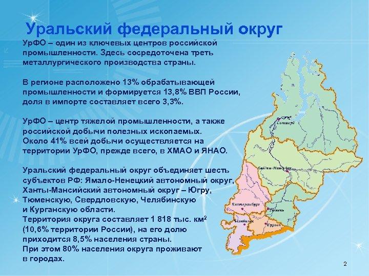 Уральский федеральный округ Ур. ФО – один из ключевых центров российской промышленности. Здесь сосредоточена