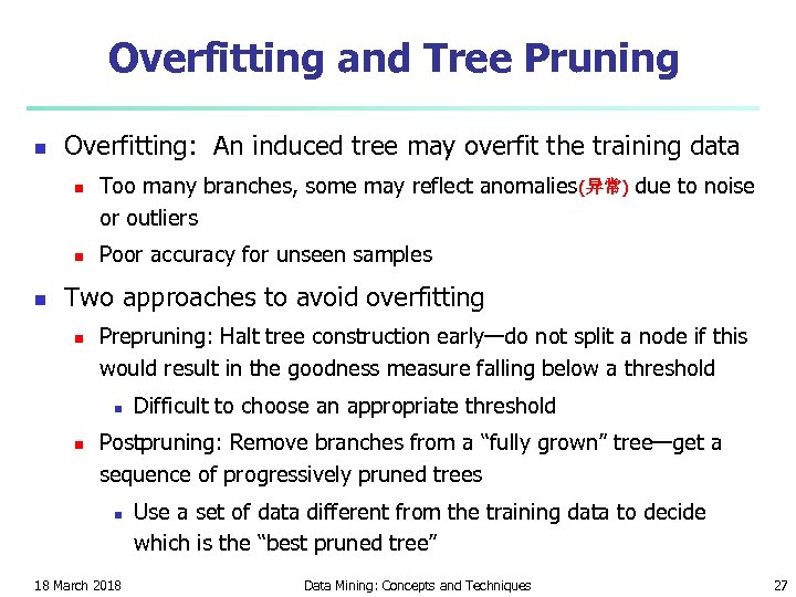 Overfitting and Tree Pruning n Overfitting: An induced tree may overfit the training data