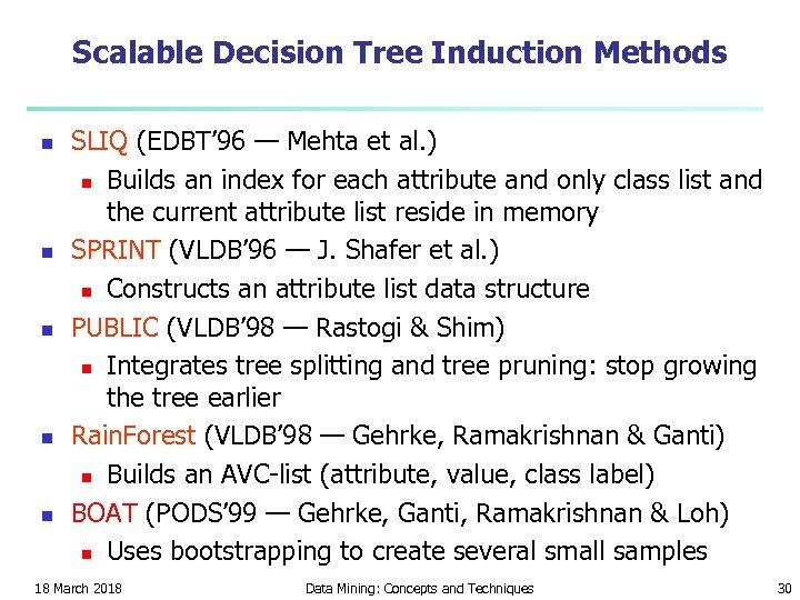Scalable Decision Tree Induction Methods n n n SLIQ (EDBT' 96 — Mehta et