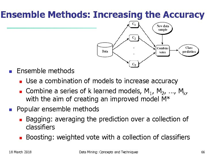 Ensemble Methods: Increasing the Accuracy n n Ensemble methods n Use a combination of
