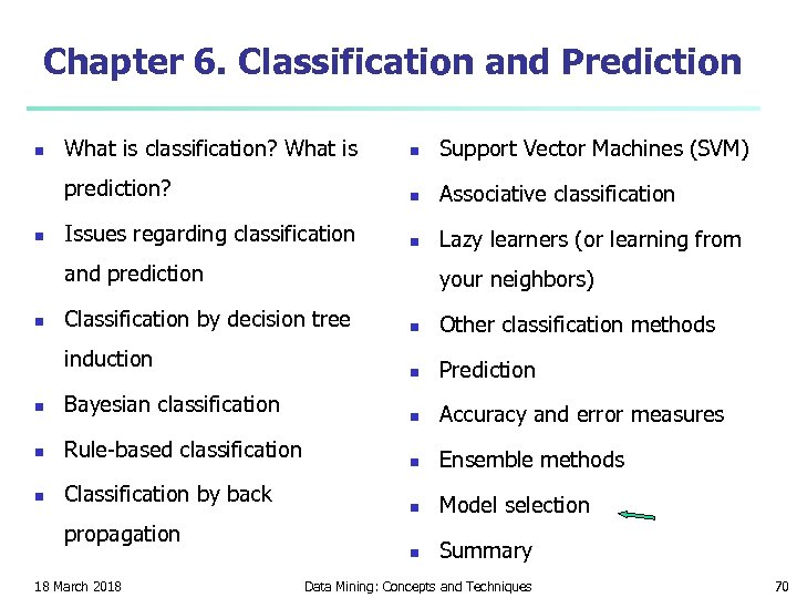 Chapter 6. Classification and Prediction n What is classification? What is n Support Vector