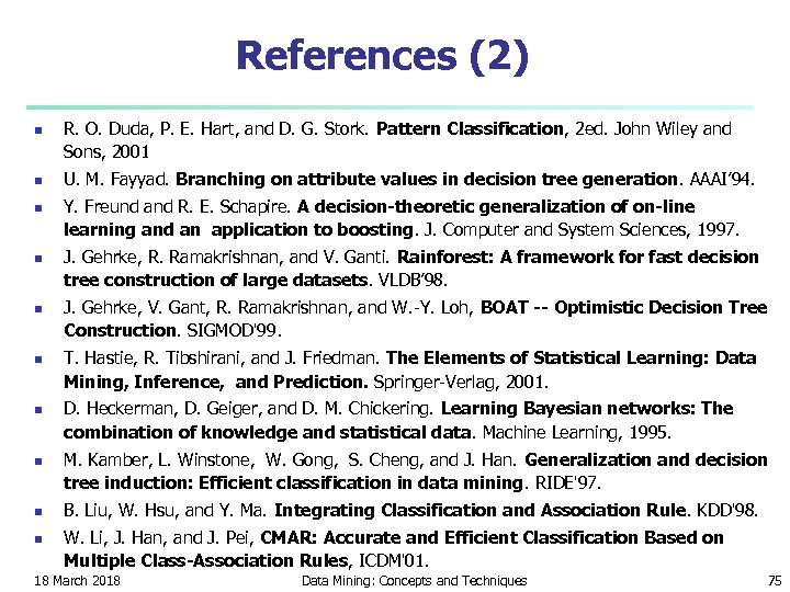 References (2) n n n n n R. O. Duda, P. E. Hart, and