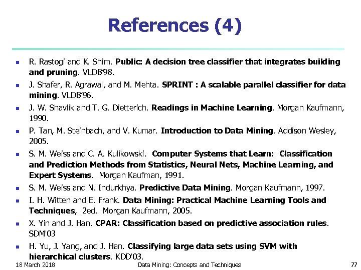 References (4) n n n n n R. Rastogi and K. Shim. Public: A