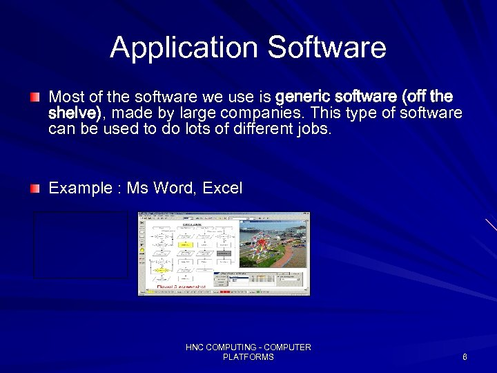 Application Software Most of the software we use is generic software (off the shelve),