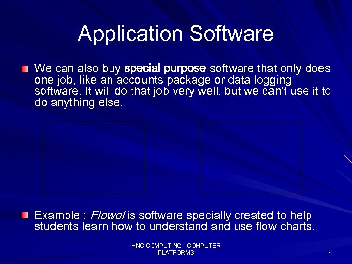 Application Software We can also buy special purpose software that only does one job,