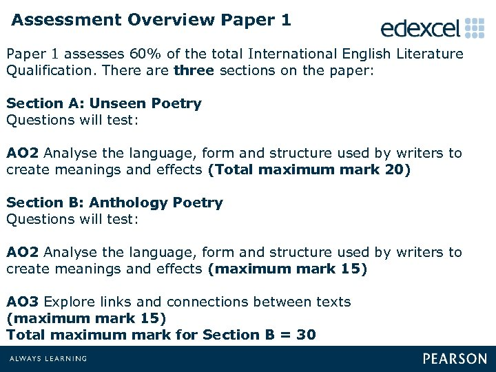 Assessment Overview Paper 1 assesses 60% of the total International English Literature Qualification. There