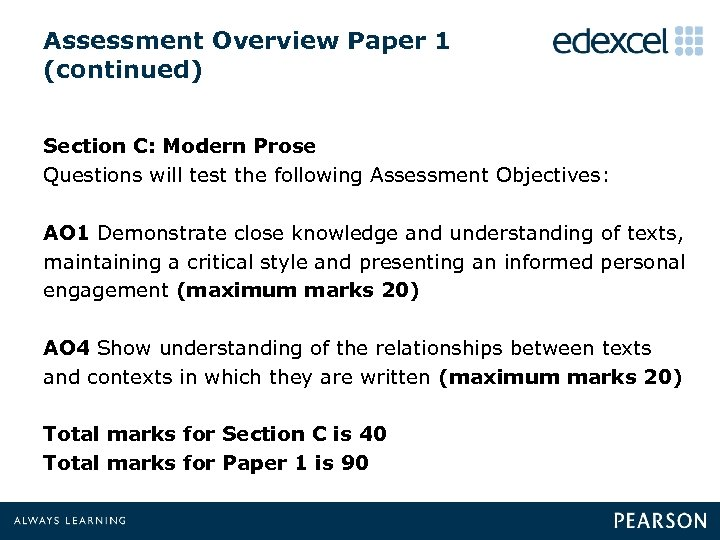 Assessment Overview Paper 1 (continued) Section C: Modern Prose Questions will test the following