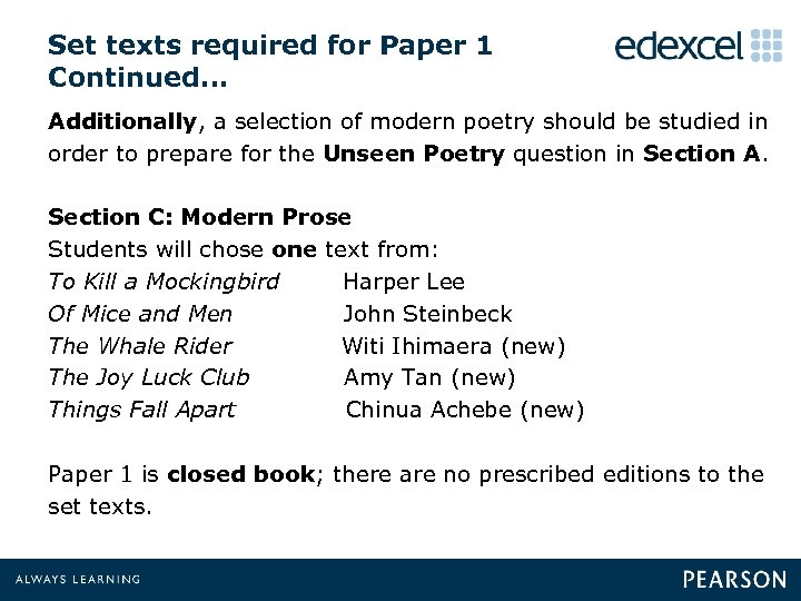 Set texts required for Paper 1 Continued… Additionally, a selection of modern poetry should