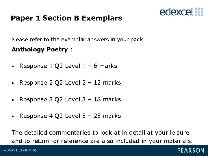 Paper 1 Section B Exemplars Please refer to the exemplar answers in your pack…