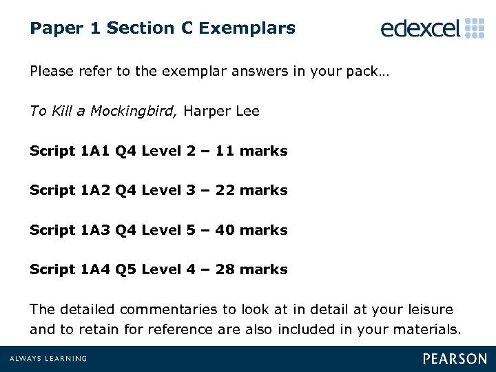 Paper 1 Section C Exemplars Please refer to the exemplar answers in your pack…