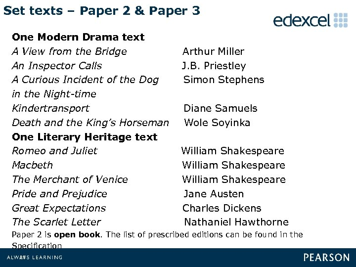 Set texts – Paper 2 & Paper 3 One Modern Drama text A View