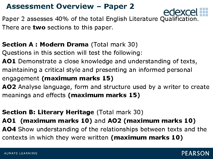 Assessment Overview – Paper 2 assesses 40% of the total English Literature Qualification. There