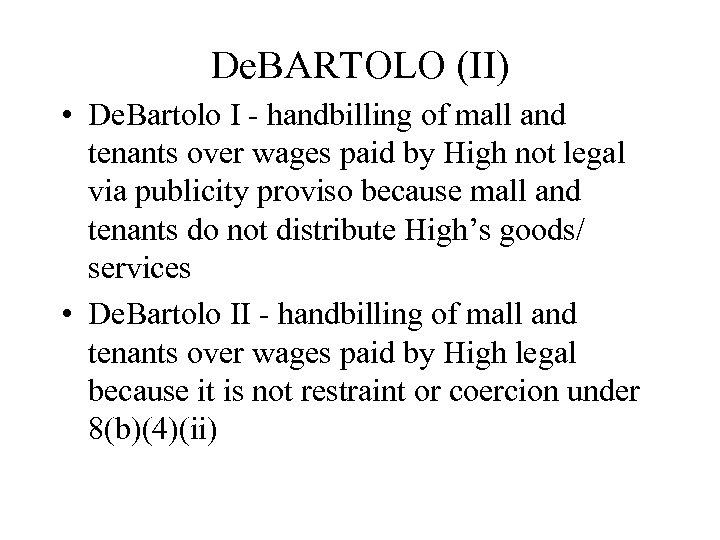 De. BARTOLO (II) • De. Bartolo I - handbilling of mall and tenants over
