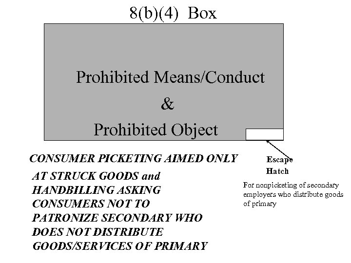 8(b)(4) Box Prohibited Means/Conduct & Prohibited Object CONSUMER PICKETING AIMED ONLY AT STRUCK GOODS