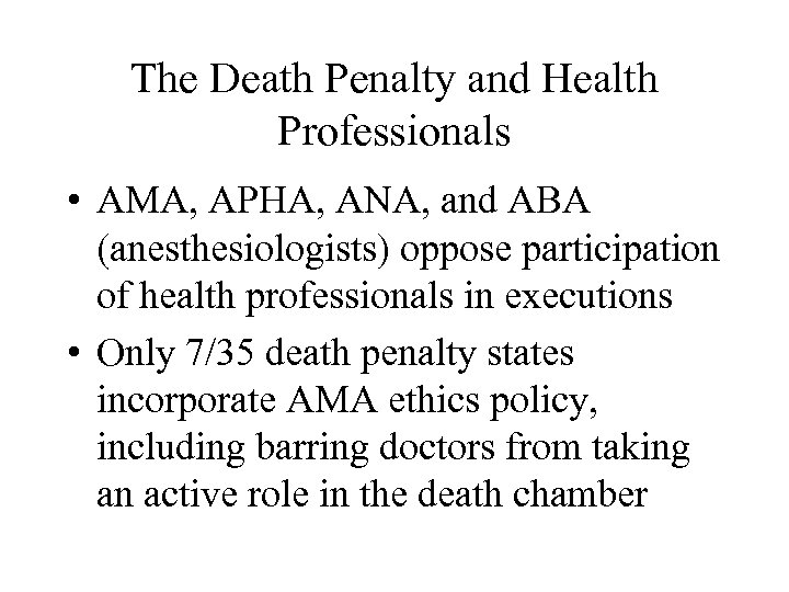 The Death Penalty and Health Professionals • AMA, APHA, ANA, and ABA (anesthesiologists) oppose