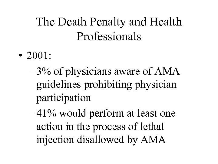 The Death Penalty and Health Professionals • 2001: – 3% of physicians aware of