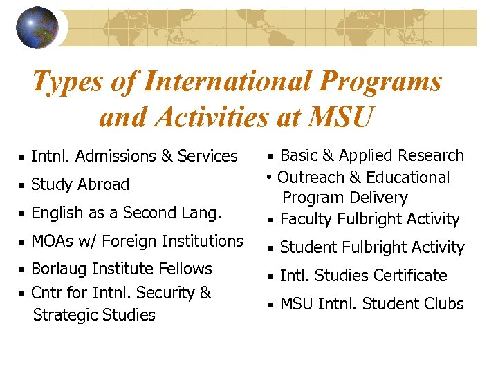 Types of International Programs and Activities at MSU ▪ Intnl. Admissions & Services ▪