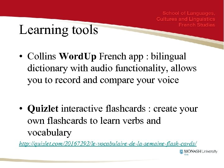 Learning tools • Collins Word. Up French app : bilingual dictionary with audio functionality,