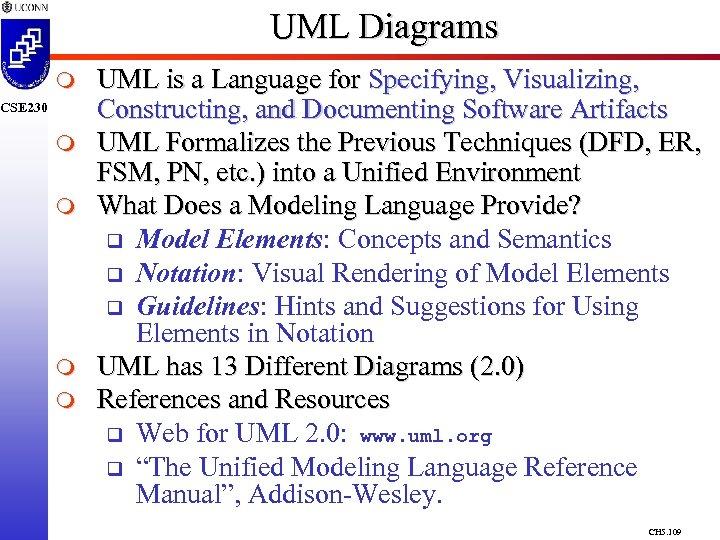 UML Diagrams m CSE 230 m m UML is a Language for Specifying, Visualizing,