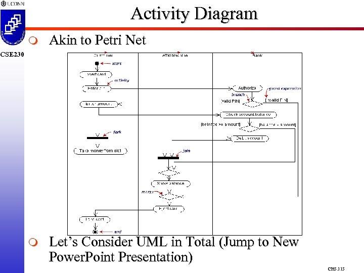 Activity Diagram m Akin to Petri Net m Let's Consider UML in Total (Jump