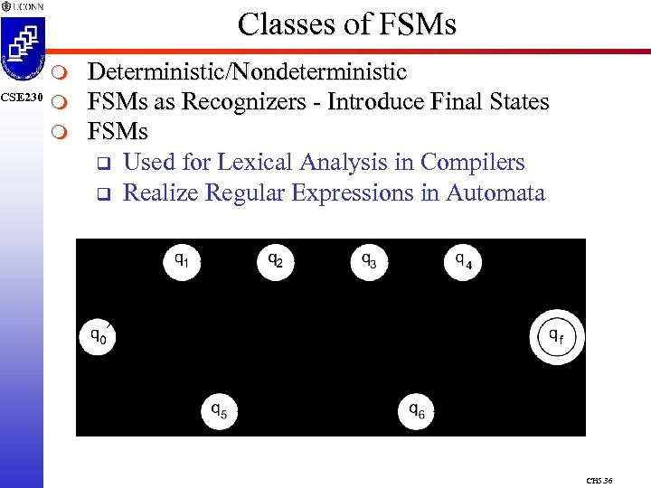 CSE 230 Classes of FSMs m m m Deterministic/Nondeterministic FSMs as Recognizers - Introduce