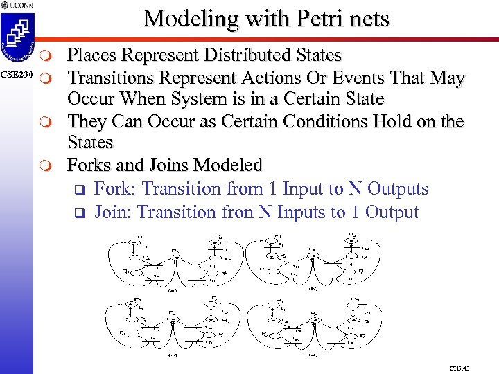 CSE 230 Modeling with Petri nets m m Places Represent Distributed States Transitions Represent