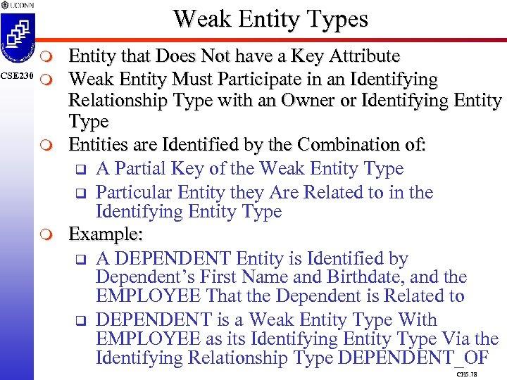 CSE 230 Weak Entity Types m m Entity that Does Not have a Key
