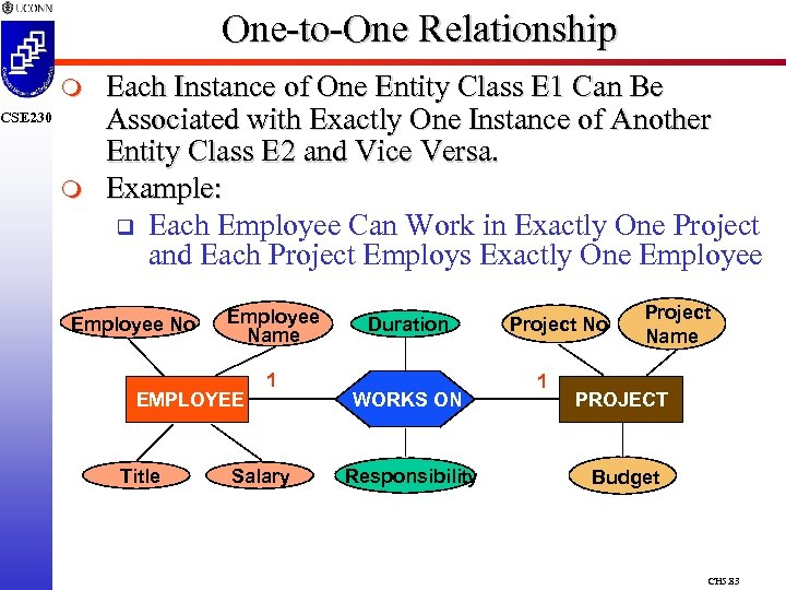 One-to-One Relationship m CSE 230 m Each Instance of One Entity Class E 1