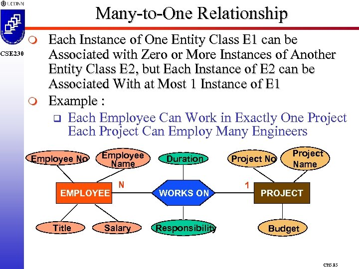 Many-to-One Relationship m CSE 230 m Each Instance of One Entity Class E 1