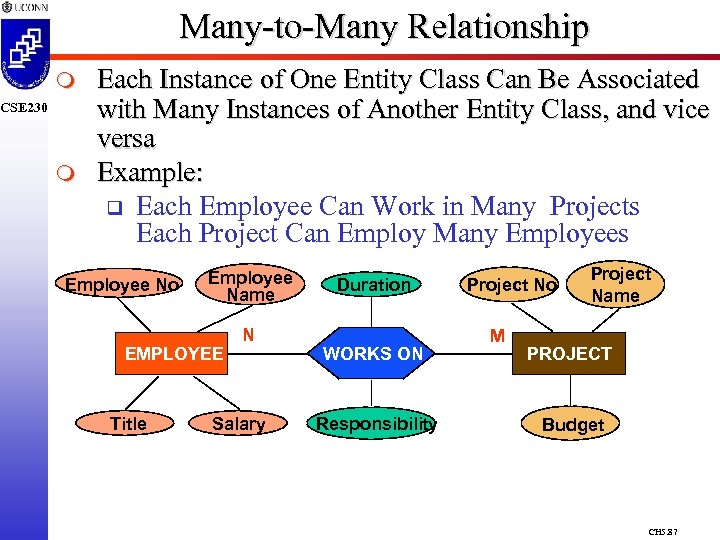 Many-to-Many Relationship m CSE 230 m Each Instance of One Entity Class Can Be