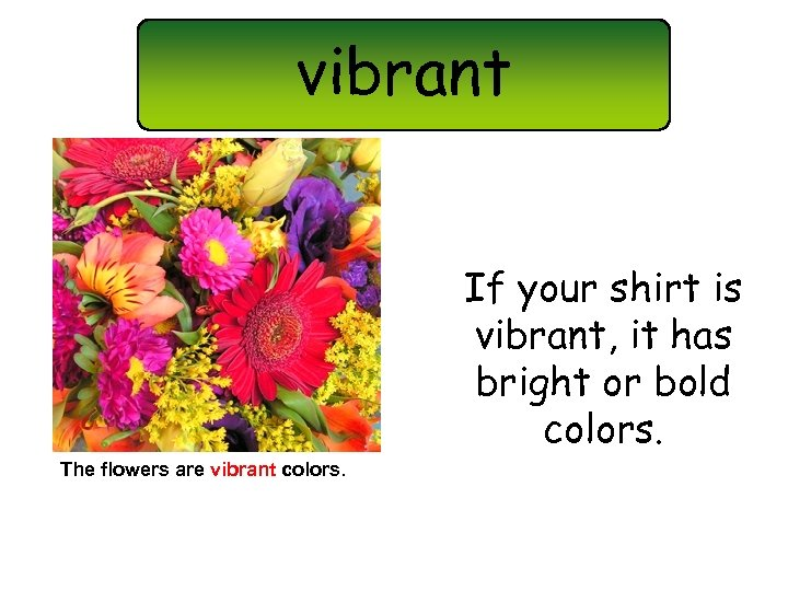 vibrant If your shirt is vibrant, it has bright or bold colors. The flowers
