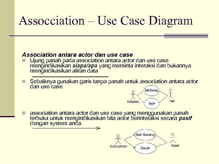 Assocciation – Use Case Diagram Association antara actor dan use case n Ujung panah