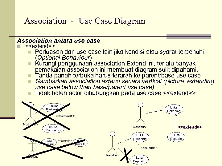 Association - Use Case Diagram Association antara use case n <<extend>> n n n