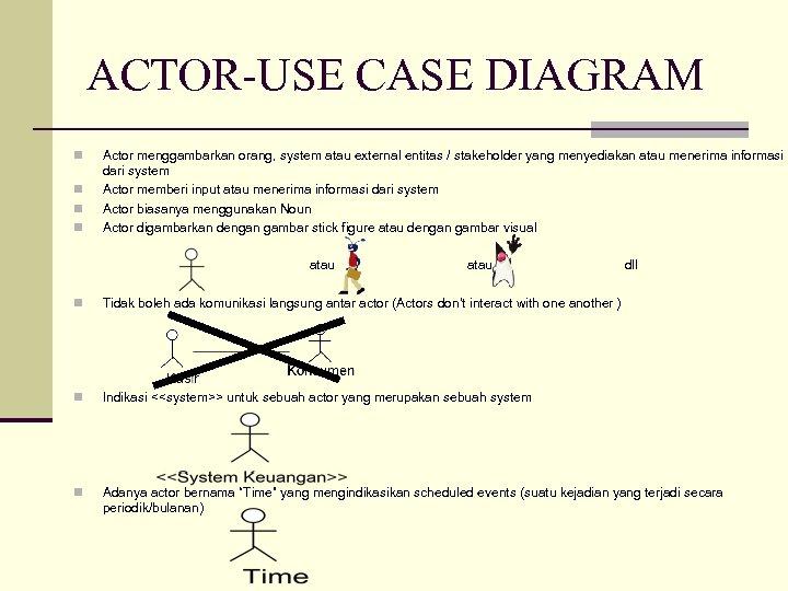 ACTOR-USE CASE DIAGRAM n n Actor menggambarkan orang, system atau external entitas / stakeholder
