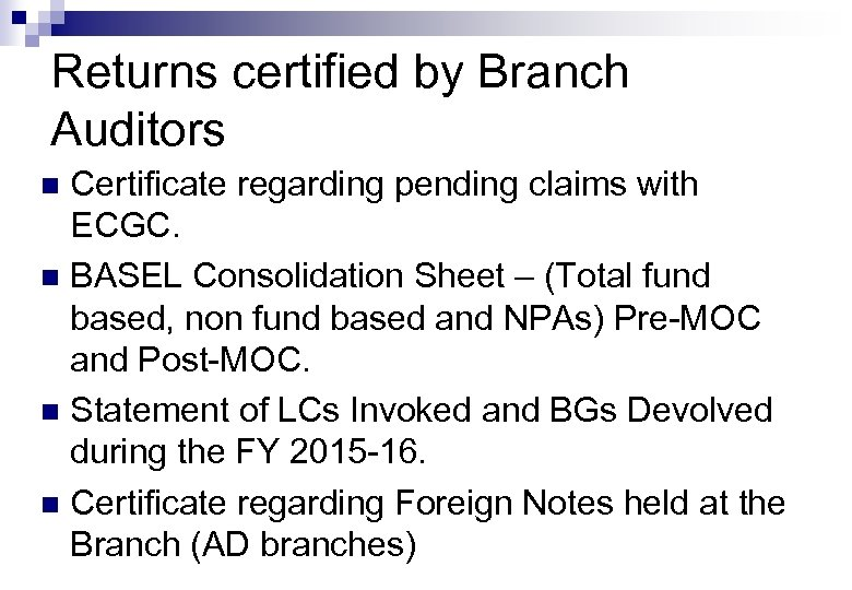 Returns certified by Branch Auditors Certificate regarding pending claims with ECGC. n BASEL Consolidation