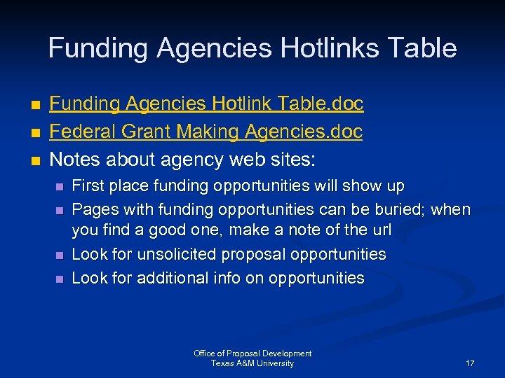 Funding Agencies Hotlinks Table n n n Funding Agencies Hotlink Table. doc Federal Grant