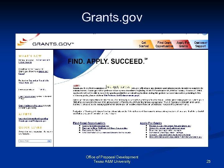 Grants. gov Office of Proposal Development Texas A&M University 25
